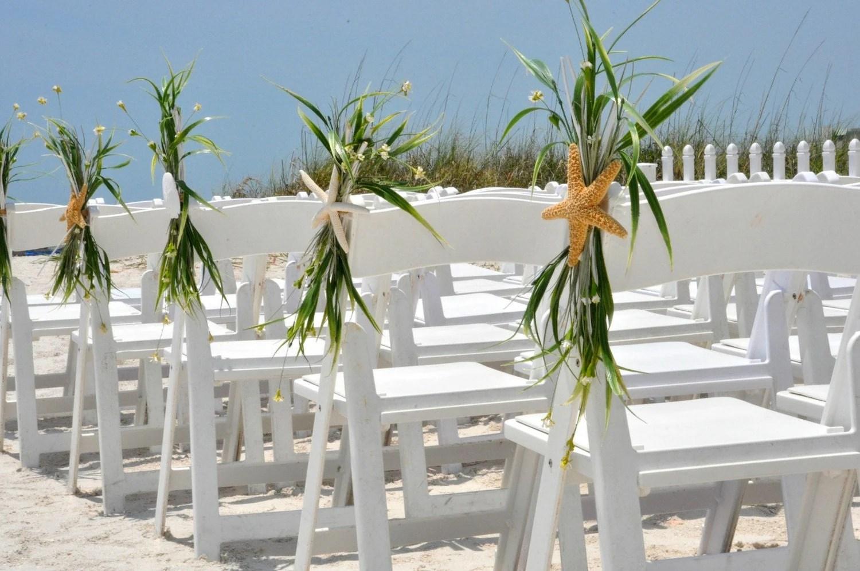 beach wedding chair decoration ideas vinyl padded folding chairs aisle starfish