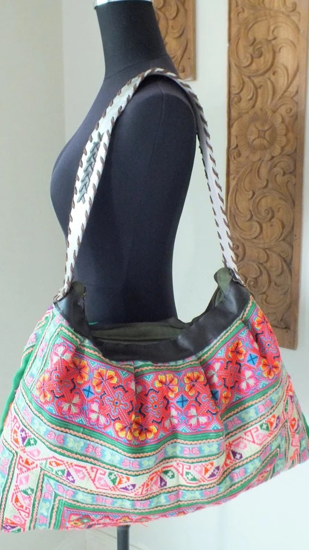 Hmong Ethnic handmade bag vintage fabric handbags by