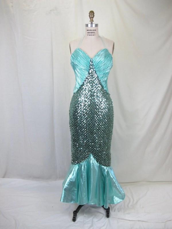 Mermaid Costume Turquoise Aqua Sequin Halter Gown Hem