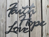 Items similar to Faith Hope Love - Metal Art Wall Decor on ...
