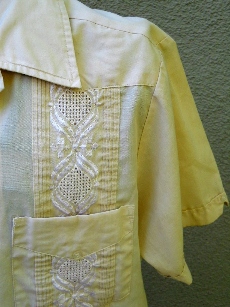 70s Guayabera Mexican Wedding Shirt Embroidered Beige  mens