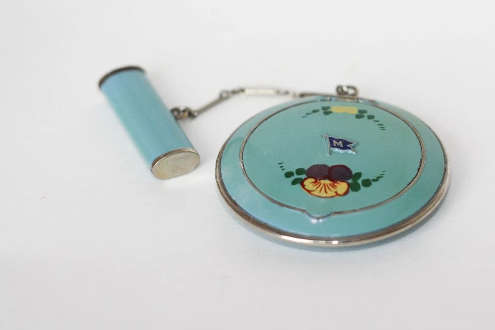 Treasury Item R&G Co. Blue Enamel Rouge Powder Compact with Lipstick case 1930's