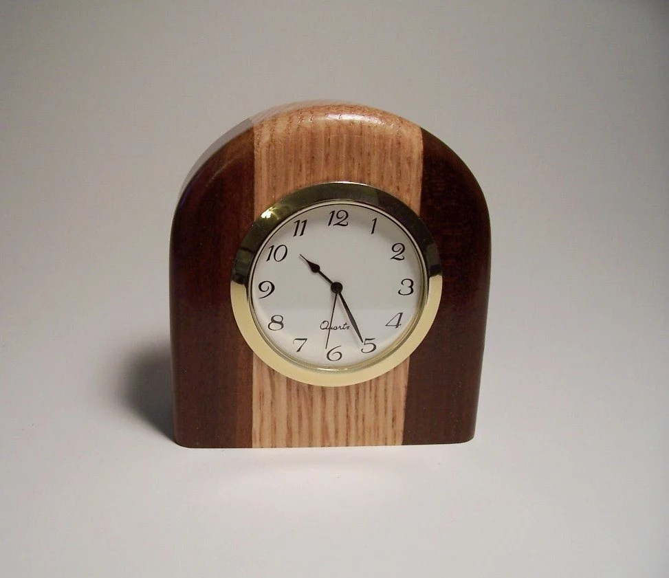 Small TwoTone Wooden Desk Clock Made of Oak by