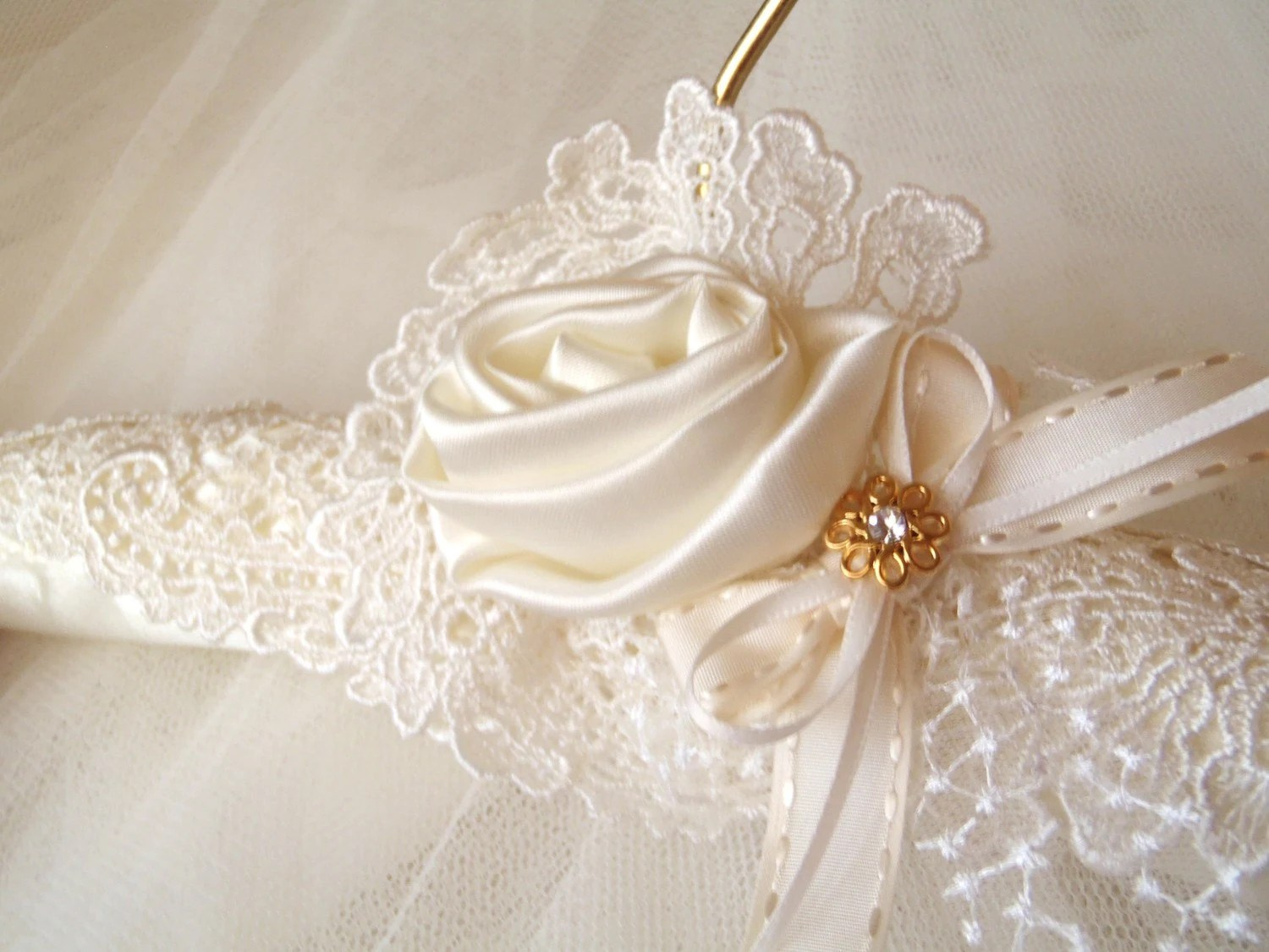 Wedding Dress Padded Satin Hanger With Vintage By