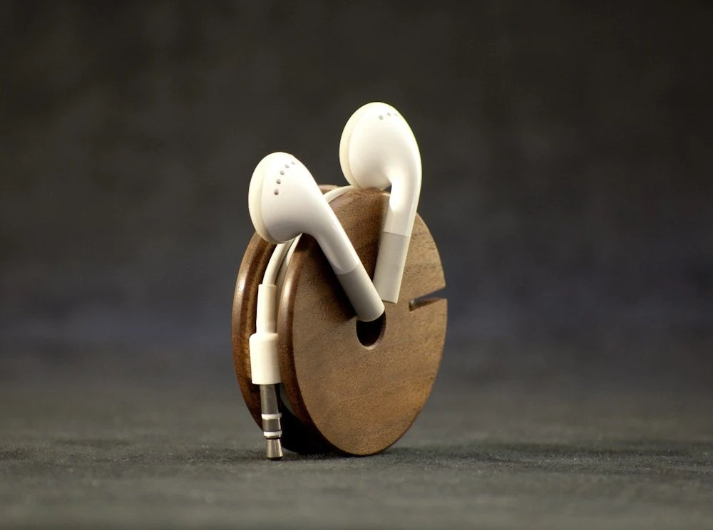 Wooden Earphone Holder, Earbud Cord Organizer. Headphone Case - Walnut - HOLIDAY SALE