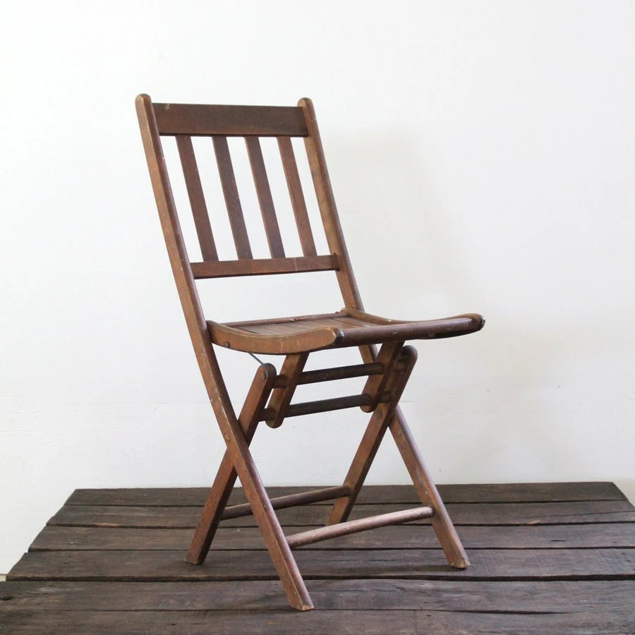 Wood Folding Chair  vintage wood slat folding chair