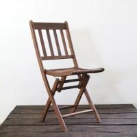 Wood Folding Chair // vintage wood slat folding chair