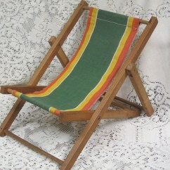 Antique Beach Chair Chairs For Toddlers Vintage Toy Collectible Retro Child Doll Size