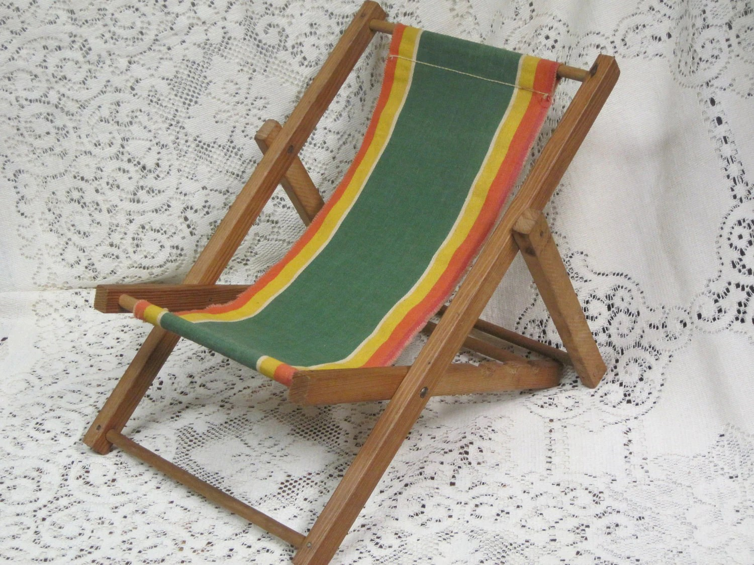 Child Beach Chair Vintage Toy Collectible Toy Retro Child Doll Size Beach Chair