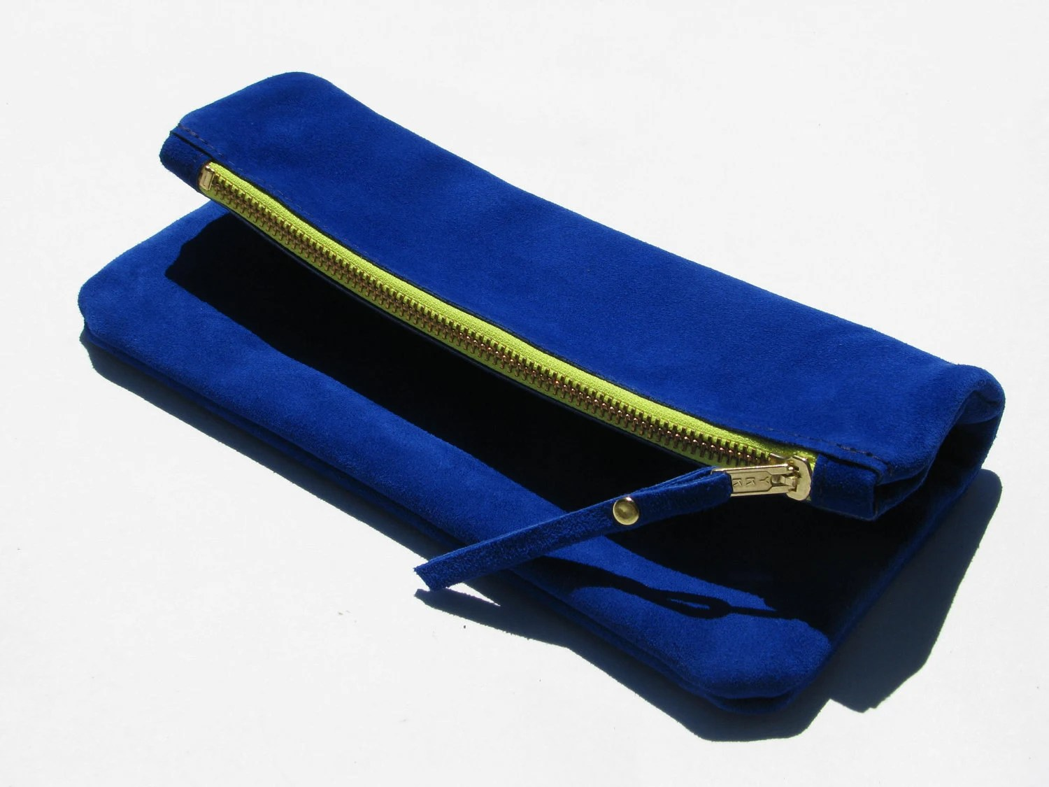 The MIDI Clutch  / / /  C O B A L T & N E O N  / / /  medium suede leather clutch in bright blue and neon yellow - JoynerAvenue