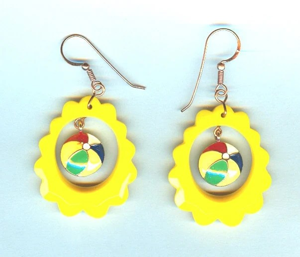 Retro Dangle Earrings: Funky Colorful Beach Blanket Bingo - SparklePlentyToo