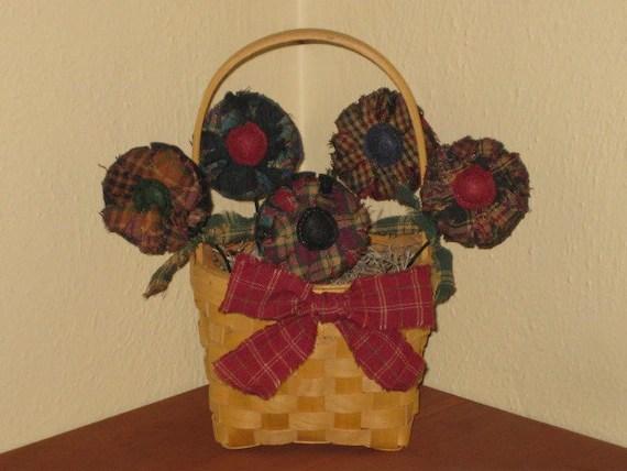 Primitive Homespun Spring  Summer Fabric Flowers in Basket