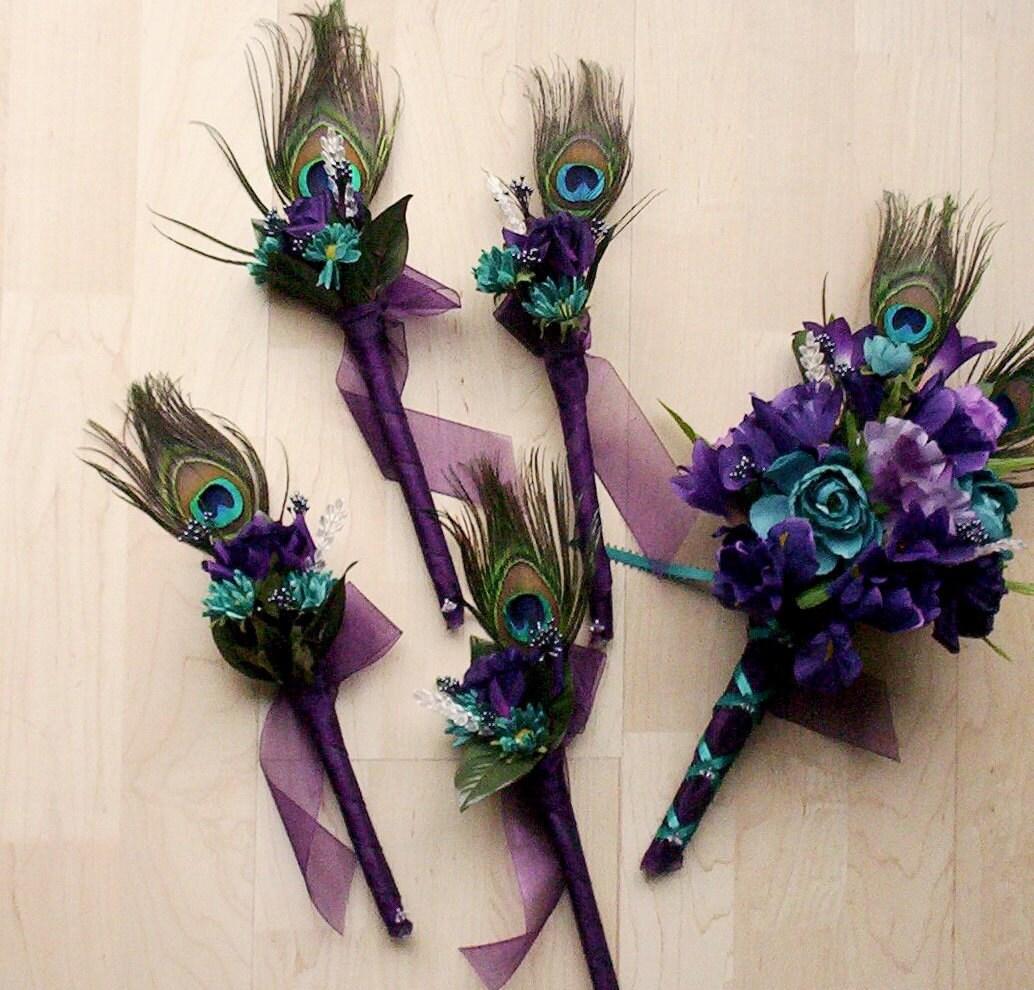 Purple Peacock Bridal Bouquets 12 Piece Package Silk Wedding