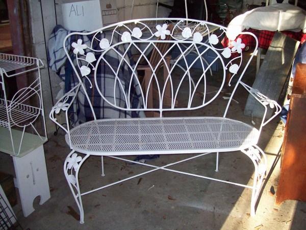 White Wrought Iron Vintage 1930' Garden Bench Setee