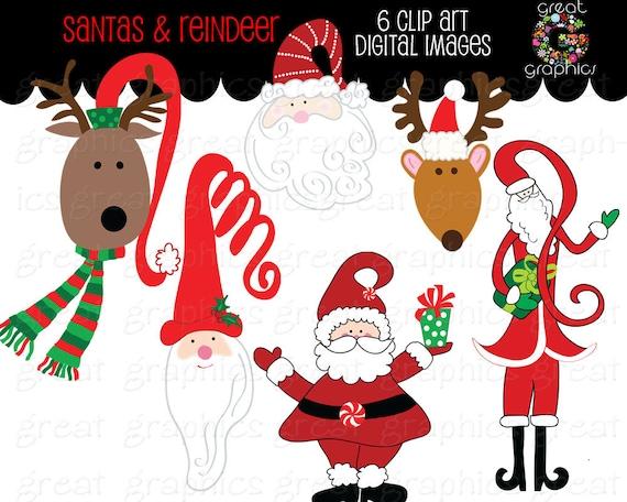 santa clipart printable reindeer