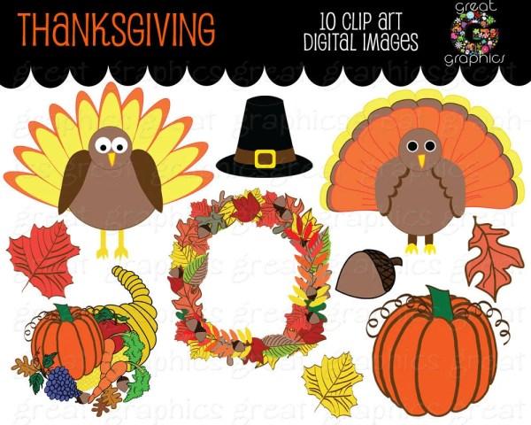 Thanksgiving Clip Art Digital Clipart Turkey