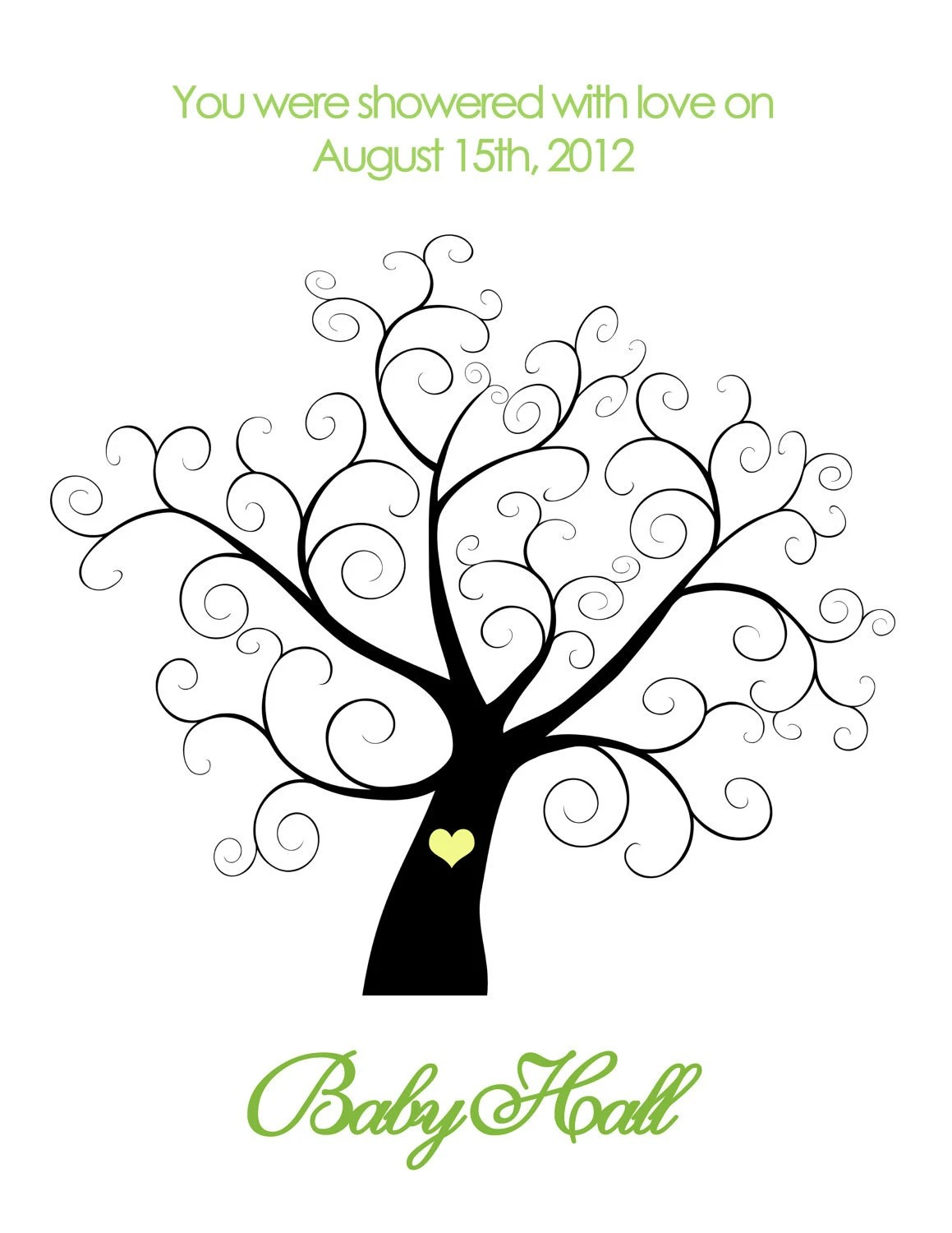 Printable Baby Shower Thumbprint Tree : Personalized