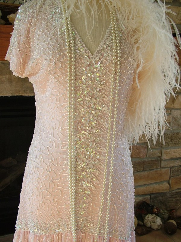 Vintage 1920s Style Beaded Dress Pink Ivory White Beads Pearls