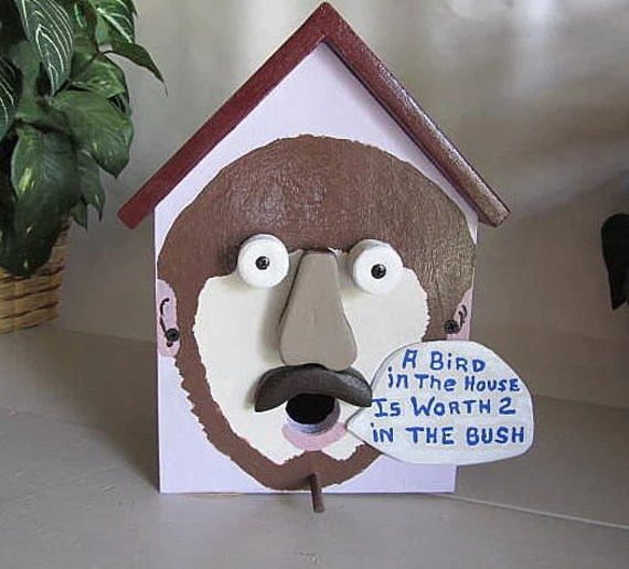 Items similar to Birdhouse Funny Face Humorous Colorful Decorating Bird House on Etsy