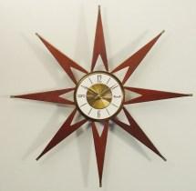 Mid Century Modern Starburst Clock Elgin. Atomic Sunburst