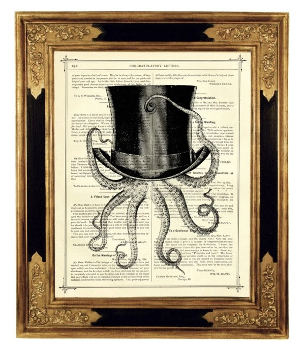 Octopus Wearing Top Hat Vintage Victorian Book Page Art