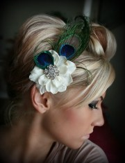 peacock feather floral hair clip