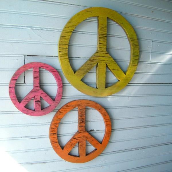 Peace Symbol Set Wooden Boho Decor Give Chance