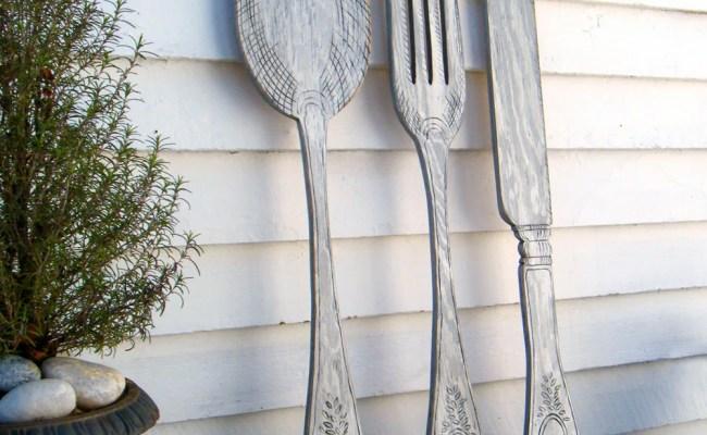 Utensil Set Wall Decor Fork Knife Spoon Wall Art Extra Large
