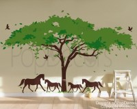 Wall Decal Tree Wall Mural Horses Decal Vinyl Wall Decor