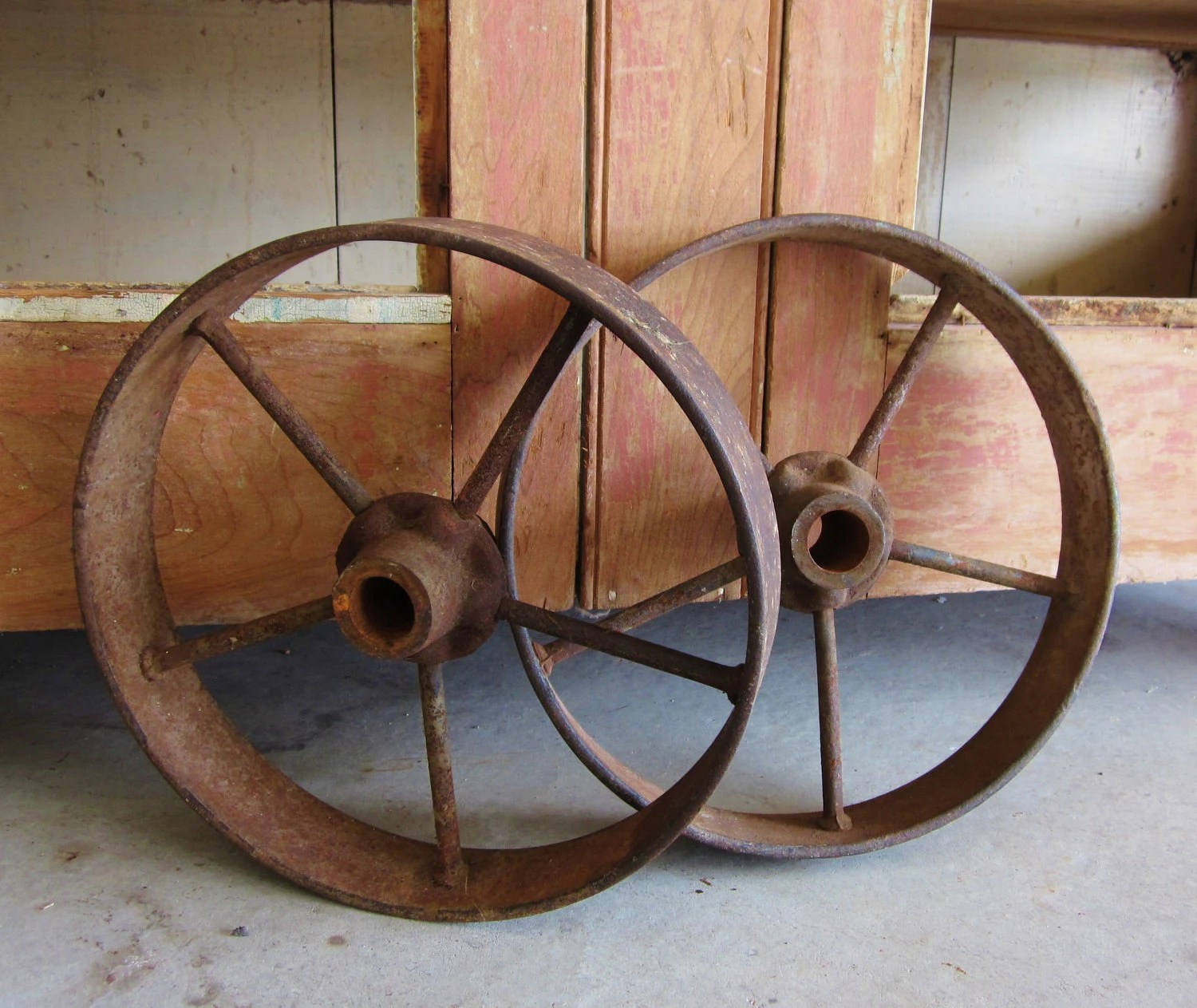 Antique Cast Iron Wagon Wheels Rustic by LittleRedPolkaDots