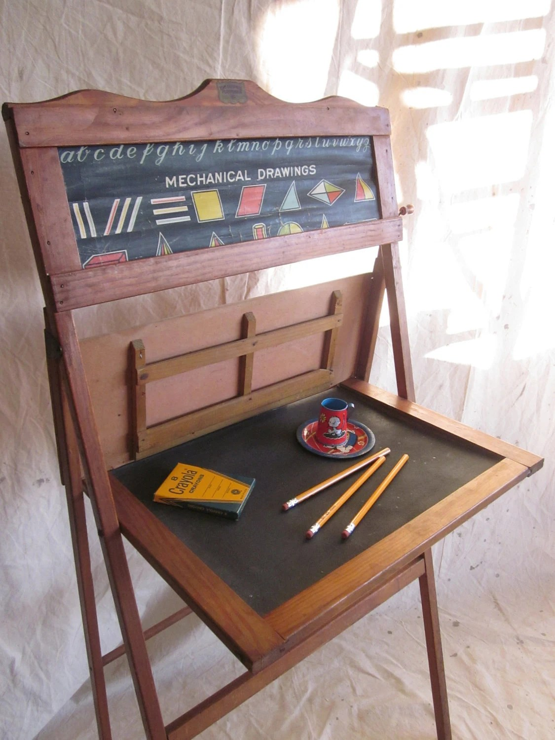 Vintage School Desk Child Educational Learning Board Home