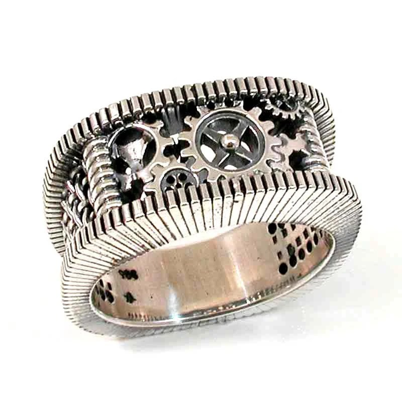 SteamPunk Silver Ring Gears Grooves And By SwankMetalsmithing