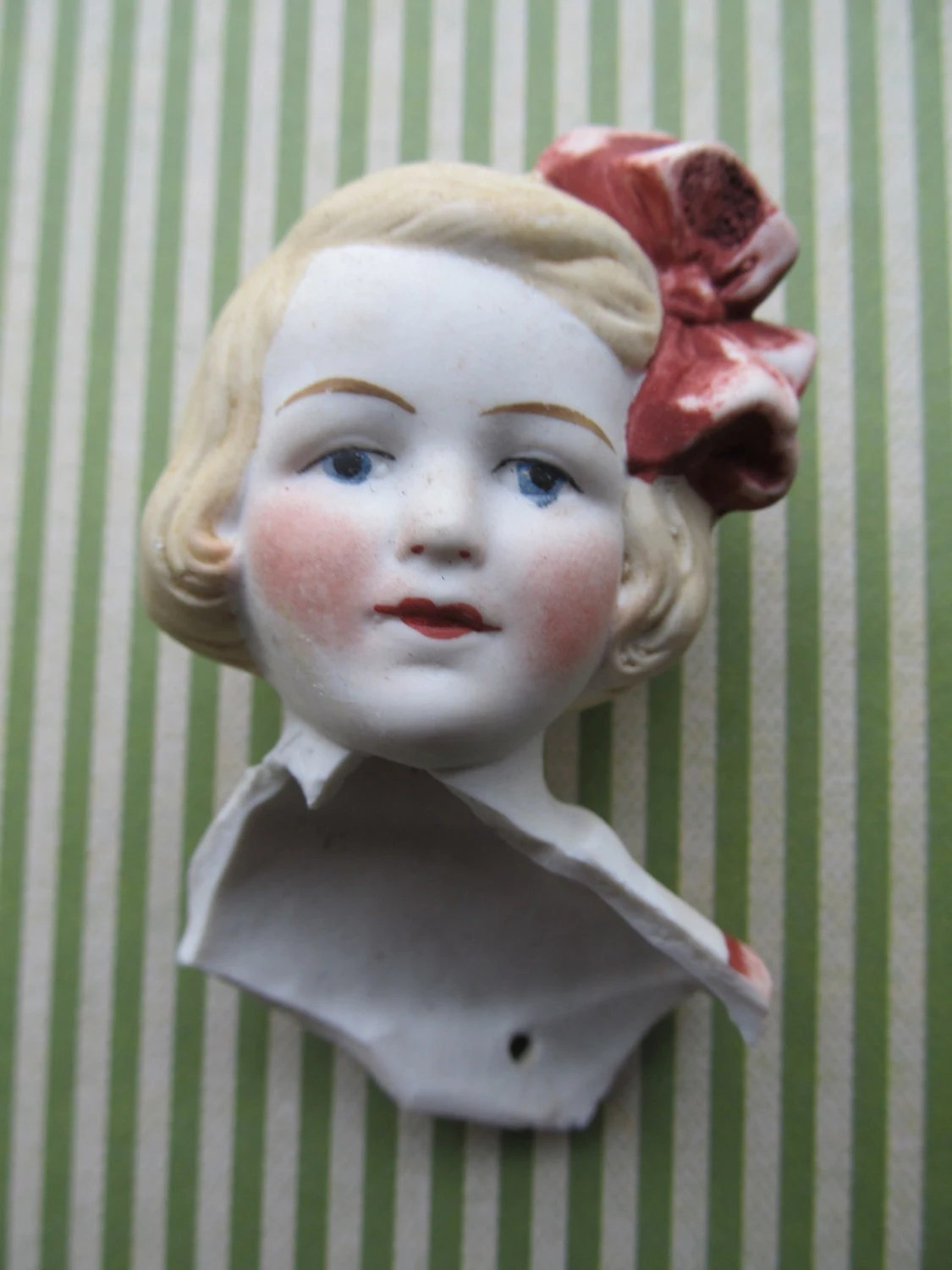 Antique Large Blond Porcelain Doll Head with by CaityAshBadashery