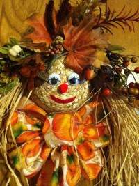 Mrs. Scarecrow Floral Straw Hat Autumn Fall Thanksgiving