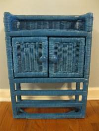 dark turquoise wicker bathroom cabinet ready to by EdistoBound