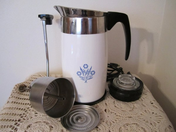 Vintage Corning Ware Electric 10 Cup Coffee Pot Percolator