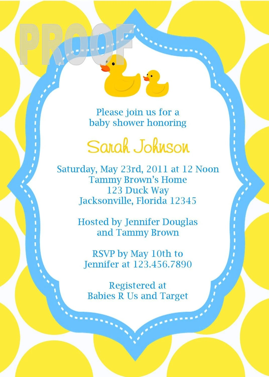 Duck Baby Shower Invitations