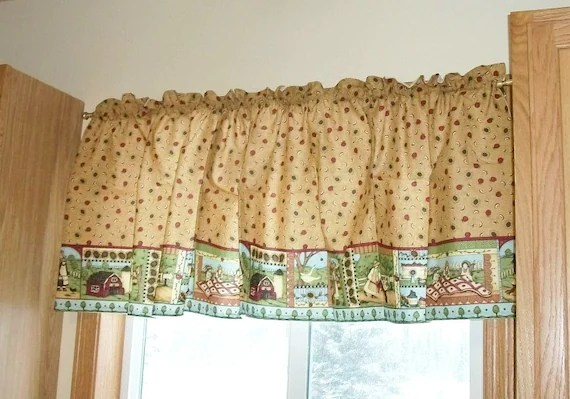 Window Valance Kitchen Apple Sunflower Country Tan Red