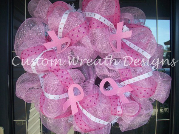 Mesh Pink Ribbon Wreath