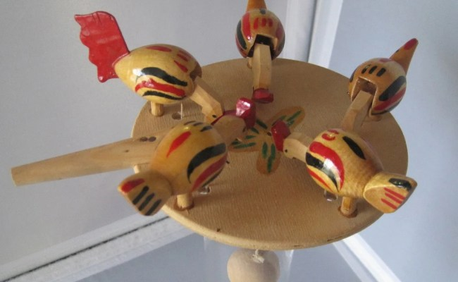 Vintage Russian Wooden Chicken Toy