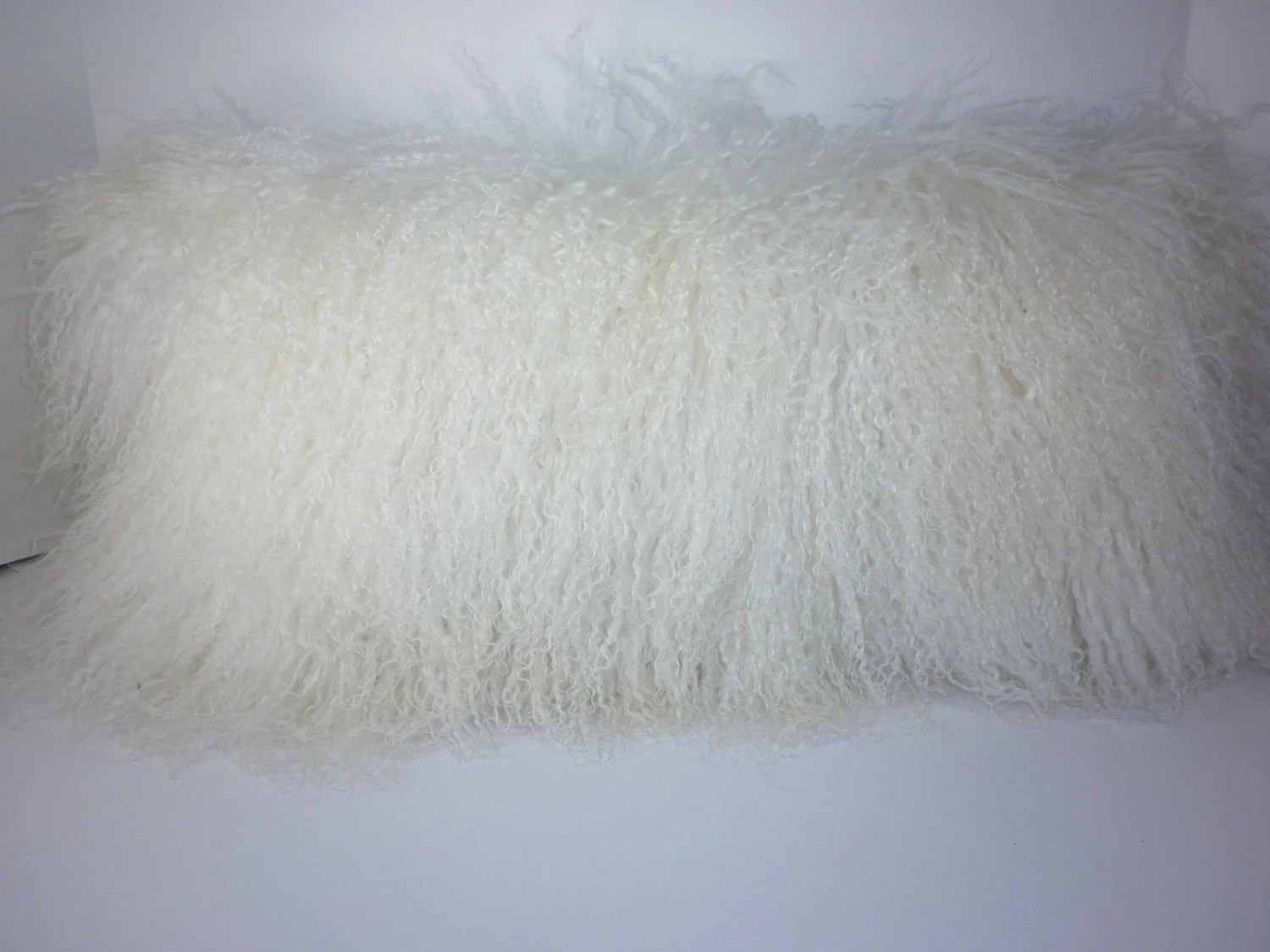 Real Genuine Bleached White Mongolian Lamb fur Pillow new usa