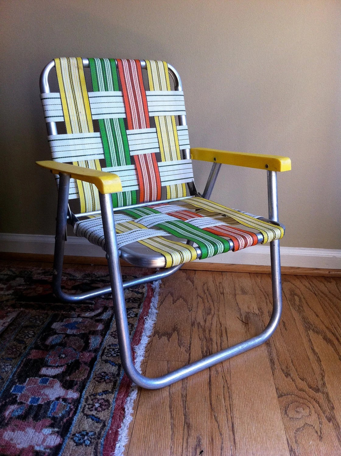 Vintage childs lawn chair aluminum orange yellow by