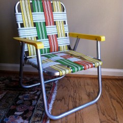 Vintage Lawn Chair Unusual Chairs Childs Aluminum Orange Yellow Green On Sale