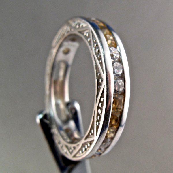 Vintage Stauer Sterling Ring Channel Set Eternity Citrine