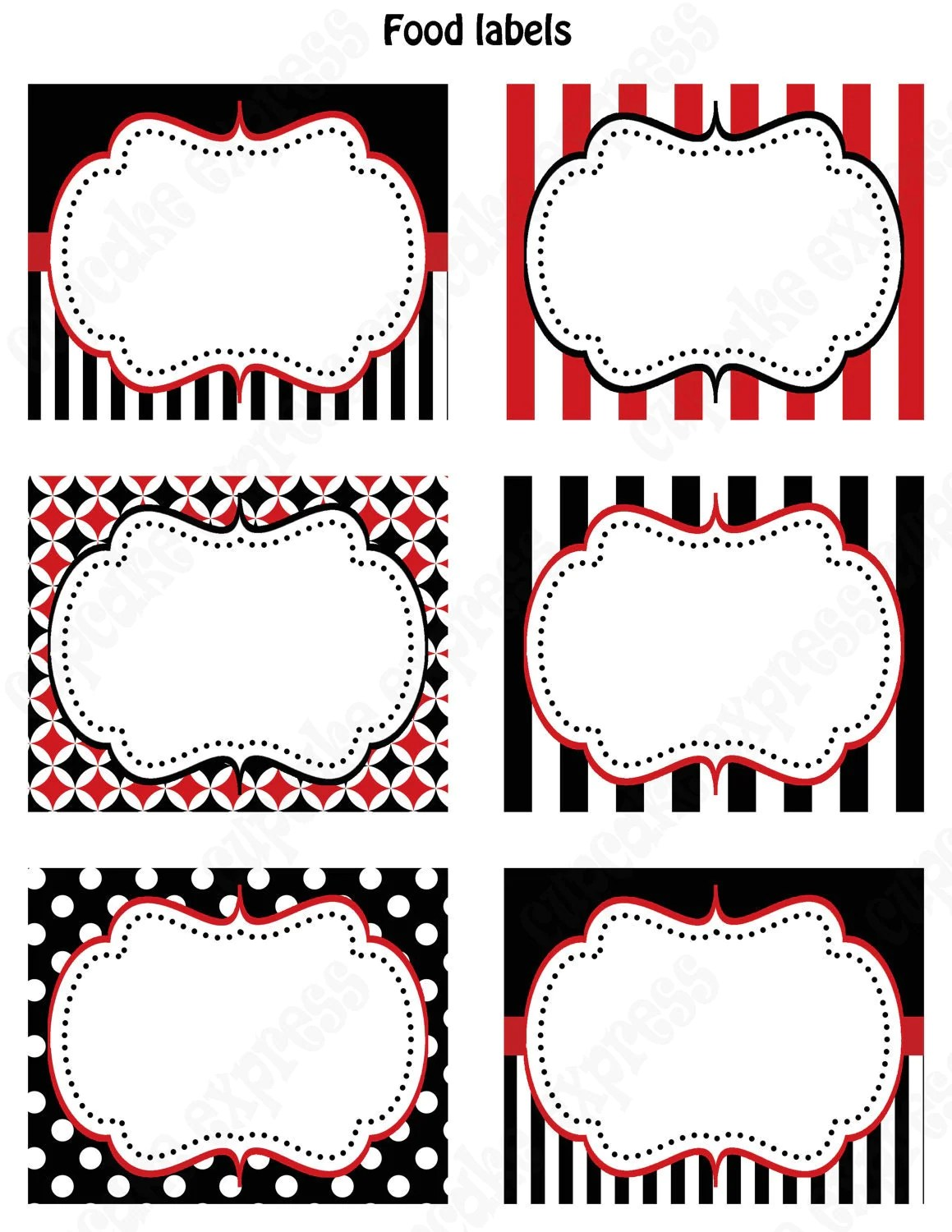 Pirate Birthday Party Printable Food Labels Favor Tags Red