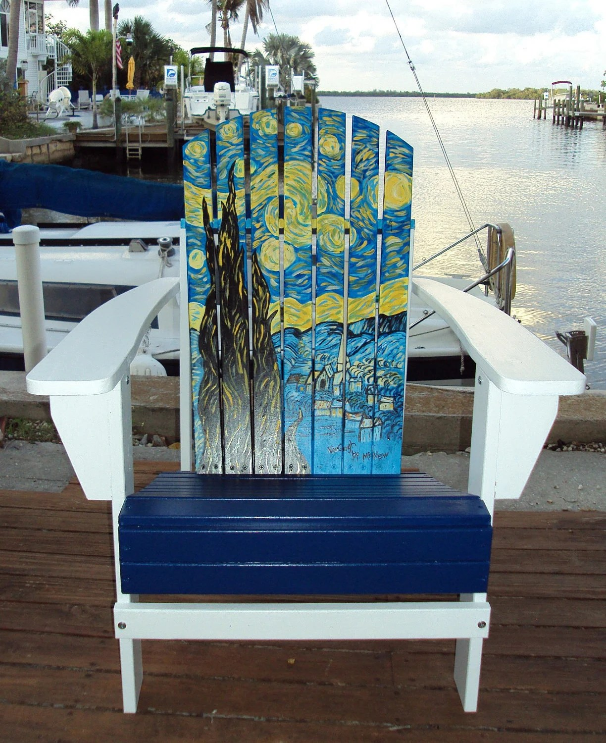 painted adirondack chairs black chair covers for hire hand starry night by matlachagetaway