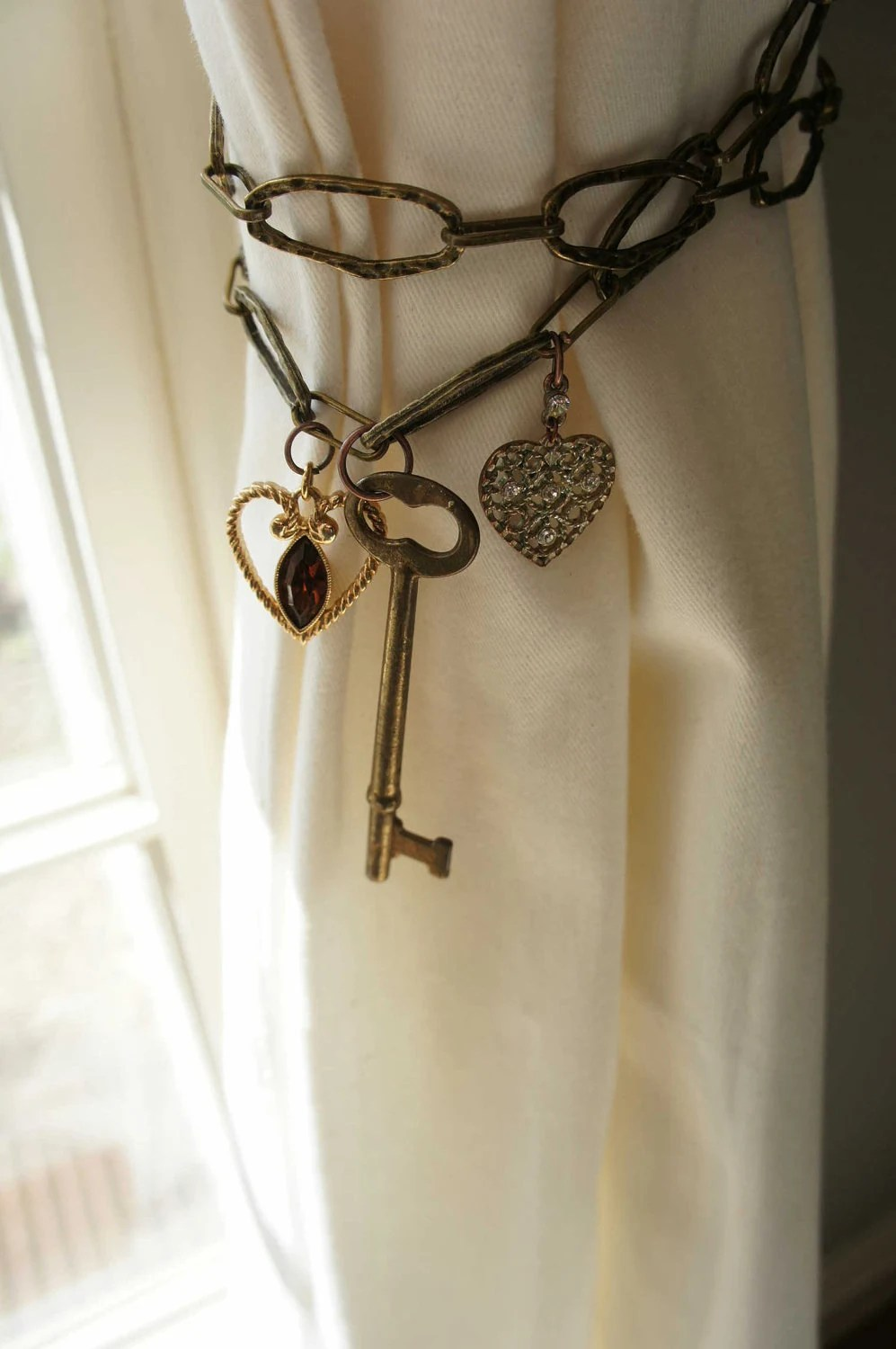 Reserved for Lisap102 Curtain Tie back Antique Brass Chain