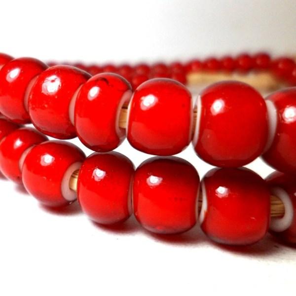 White Heart Beads Red Trade Large 8mm 10 Starbazaar