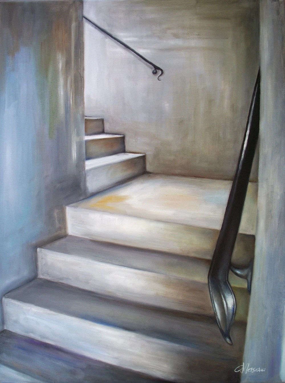 Staircase Oil Painting Original Art in Gray White by