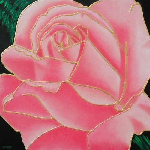 Pink Gold Rose Texture Tiffany Flower Deco Art Original Painting - COLOREART